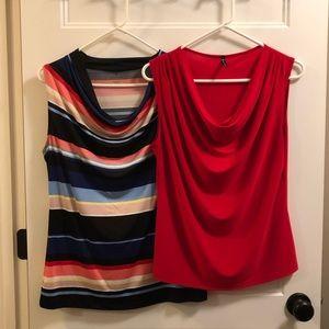 Tops - TWO - pair of drape neck camisoles- M